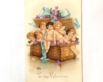 Edwardian Valentine postcard with cupids  1908