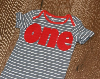 one, Birthday bodysuit, Red, gray stripe, short sleeve ready to ship bodysuit with - 18 months, Ready to SHIP