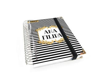 Personalized A6 Notebook with monthly calendar black and white stripped cover - A28