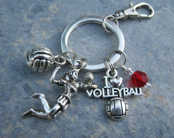 I Love Volleyball Keychain, Volleyball Zipper Pull,  Personalized Accessory, Athletic Keychain Lanyard, Volleyball Gift, Sports Inspired