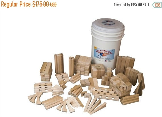 3 DAY SALE Large Set Of Wooden Blocks -190 Blocks In Great Storage Bucket-Free Shipping To U.S.