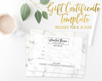 Marble Gift Certificate Card Template - Photoshop Template - Illustrator Vector Template - Small Business Branding - Gift Voucher template