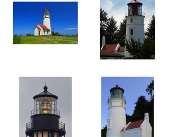 Oregon Coast Pacific Northwest Travel Souvenirs, Note Cards, All Occasion Cards, Blank Photo Cards, set of 4 different Oregon Lighthouses