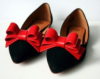 Red Leather Bow Shoe Clips (set)