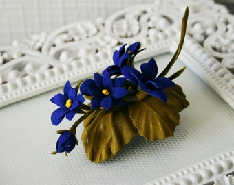Summer Bouquet Viola Pansy Leather Flowers Brooch Hairclip