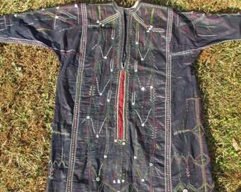 Sale Yemen Dress Raw Silk Fully Embroidered Indigo Dyed