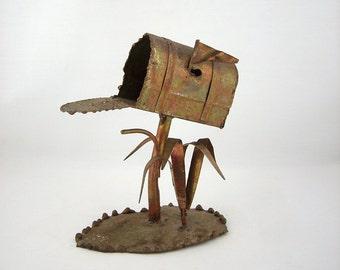 Mid Century Brutalist Metal Sculpture Mailbox, 1960s