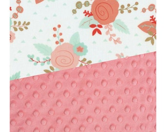 Baby Blanket Coral Gold Mint Floral  Carseat Blanket Crib Blanket Girl Feather Minky Blanket