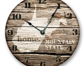 """WEST VIRGINIA State HOMELAND Clock - Mountain State - Large 10.5"""" Wall Clock - Printed Wood Image - WV_FT"""