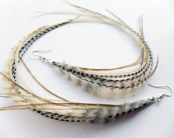 Long Feather Earrings, extra long feather dangle earrings