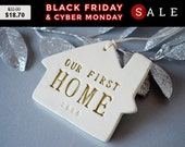 Cyber Monday Sale Personalized Christmas Ornament - Our First Home 2016 - Gift Boxed and Ready to Give