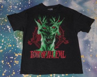 "1988 SLAYER ""Root of All Evil"" Tour T-Shirt Size  L 80s Metal Trash"