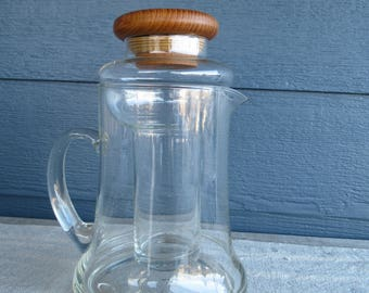 Vintage Glass Cooling Pitcher, Mid Century Modern Glass Carafe with Teak Lid, Winsome Wood Teak