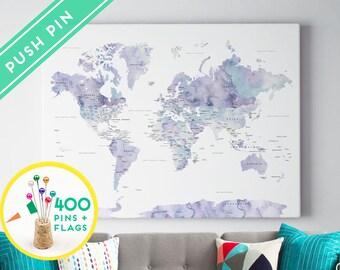Push Pin World Map Watercolor Marble - Countries, Capitals, USA - CANADA states - 240 Pins