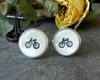 Men Cuff Links Bikers Novelty Gift Porcelain Cuff Links Father Boss Coworker Black Bike Pottery