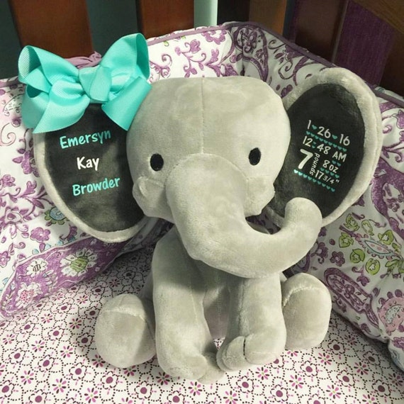 Personalized Birth Elephant New Mom Gift First Birthday
