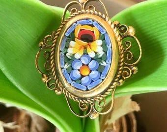 Bridal Blue Micro Mosaic Statement Ring Vintage 1940 1950 Periwinkle Cornflower Blue Filigree Woodland Goddess Wedding