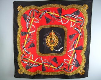 Excalibur Crested Scarf / Vtg 80 / Baroque Print Red Black and Gold Scarf / Regal and Royal / Military Scarf with Swords and Crown