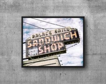 Palace Grill- Chicago Photography Print - vintage sign photo