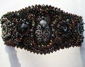 Mechanical Bugs steampunk bead embroidery cuff bracelet