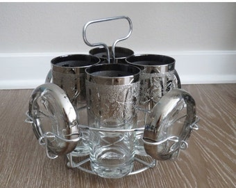 50% SALE Mid Century Silver Ombre Cocktail Set with Caddy and Coasters