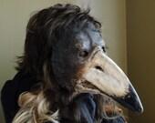 Plague Doctor Mask, Paper mache mask, Crow mask, raven mask, bird mask, masquerade mask, mens masquerade mask, bird costume