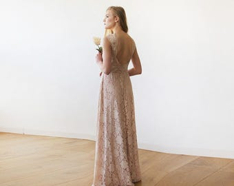 Open back lace maxi dress, sleeveless blush bridesmaids gown 1141
