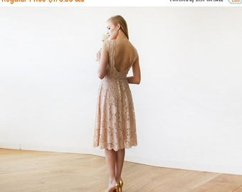 Spring Sale Open back lace midi dress, Sleeveless blush bridesmaids gown 1143