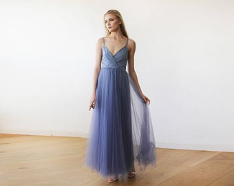 Dusty Blue Straps Maxi Tulle Dress 1053