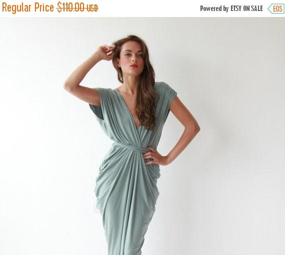 Spring Sale Formal maxi bridesmaids sage color dress , Sage maxi gown 1008