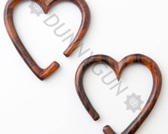 4G Pair Heart Hoop Tiger Rosewood Gauged Earring Plugs Body Piercing Jewelry 4 gauge