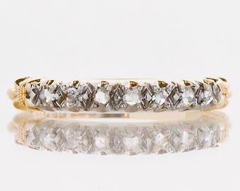 Antique Wedding Band - Antique 14k & Palladium Rose Cut Diamond Wedding Band