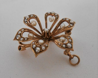 Victorian 10K Solid Gold Blooming flower brooch, Pin, Pendant with seed pearl accents