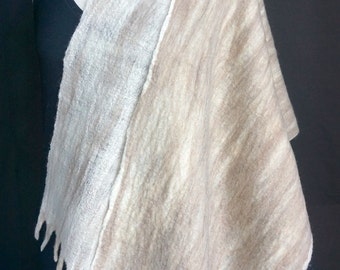 Luxury. Felted Shawl. Taupe Merino. Silk. Fringe. Eco. Sustainable.