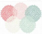 50% OFF  - Clipart - Dahlia Flowers (Petals) Silhouette - Digital Clip Art (Instant Download)