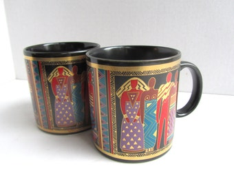Vintage Laurel Burch Mugs Pair Tribal Spirit