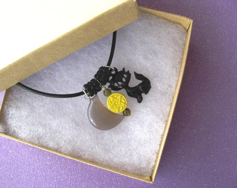 Black Cat, Pentacle Jewelry, Moon, Leather Necklace, Pagan, Goddess, Wicca