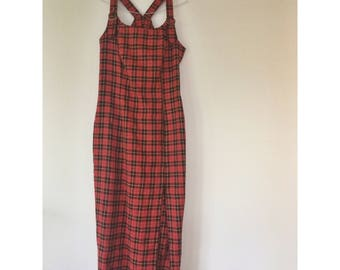 90s red and black plaid jumper dress.