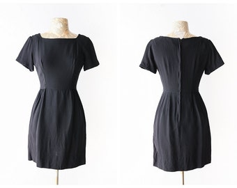Classic Little Black Dress - Iconic 1960's Black Wiggle Dress - Simple Short Sleeve Vintage Dress - Size Small