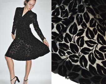 1940s Black Velvet Burnout Falling Leaf Semi-Sheer Dress