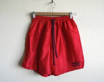 Vintage Umbro Shorts, 90s Shorts, Mens Shorts, Womens Shorts, Athletic Shorts, Soccer Shorts, Red Nylon Shorts, Workout, Made USA, Adult Sm