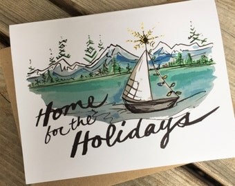 6 Holiday Greeting Cards / Northwest Holiday Cards / Nautical NW Holiday