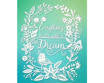 8x10 Print - Dream - Original Papercut Illustration - Fine Art Print