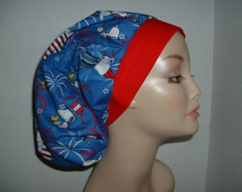 Patriotic 4th July Peanuts Snoopy Bouffant OR Scrub Hat CRNA Surgical cap Fireworks