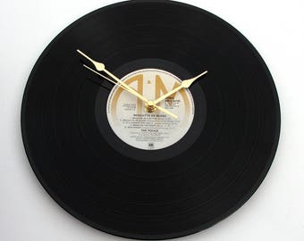 "THE POLICE Vinyl Record Clock ""Regatta De Blanc""  A recycled 12"" vinyl album LP Great gift for men or women British post punk new wave Sting"