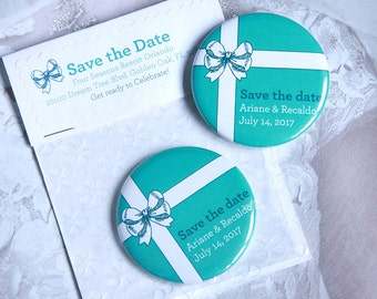TIFFANY BOW Save the Date 58mm Magnet with Handmade Packaging x 40