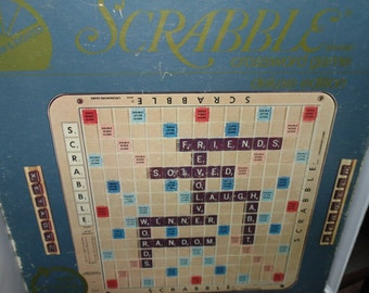 Vintage 1982 Deluxe SCRABBLE Board Game With Original Burgundy Tiles & Turntable