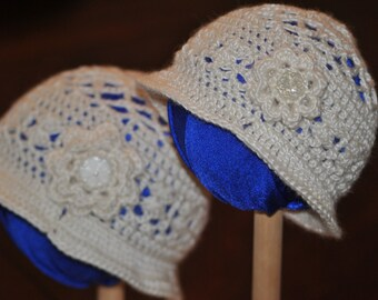 0-6 and 6 - 12 Month White Christening Hand Crocheted Baby Beanie Accented with Flower Panama Style Baby Hat
