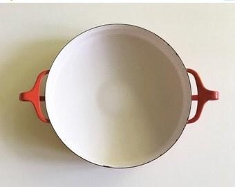 ON SALE Vintage Dansk Red Kobenstyle Enamel Pan // Paella Pan // Jens Quistgaard