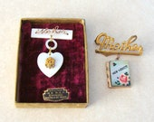 Pair of Vintage Mother Pins, One with Military MOB Dangle and Original Box, One with Hand Painted Photo Locket